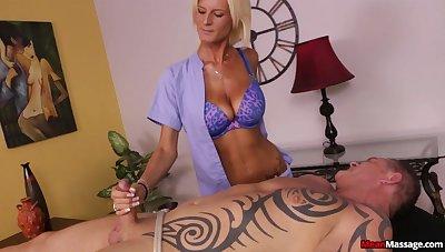 Horny blonde Olivia Blu strokes a uncalculated man's stiff manhood
