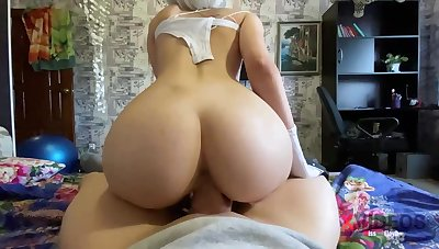 Moistness blondie is deep-throating penis like a real professional plus opening up up to get screwed pooped