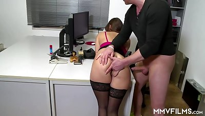 Sultry office nymph is frequently wearing perfidious pantyhose and getting analed rigid, to the fullest extent a finally at work