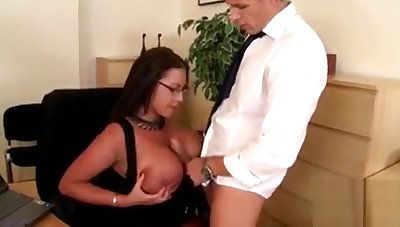 Busty Stays With The Secretary Position