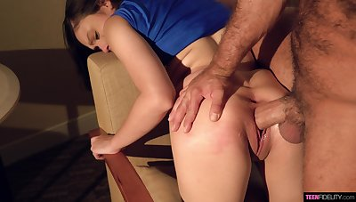 Young cheerleader gets her pussy demolished by a huge cock