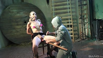 Clamped bitch hard fucked with toys and made to pay off