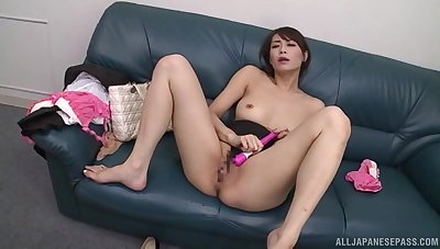 Petite asian beauty, Nanami Hirose, shows her sex toys arsenal