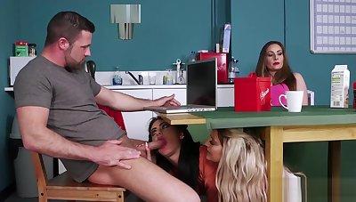 Femdom Hottie Sucking Dudes Dick