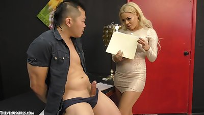 Big aggravation blonde treats herself there a big Asian dick
