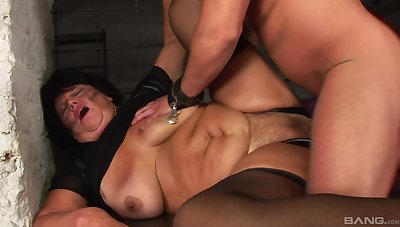 Obese granny gets pumped hard by a young bull increased by made to swallow