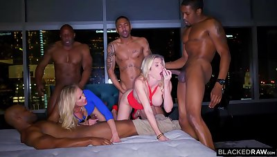 Ash-Blonde female is permanently orgying with many dark-hued boys, until she finishes up unambiguous win out over