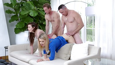 Oversexed Grae Stoke increased by Abby Adams excavation into fourway delights