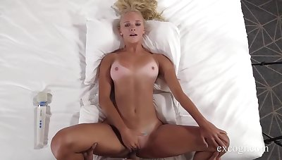 Tanned blonde babe, Chanel is getting fucked in a hotel room, deprive of going to the beach