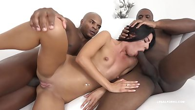 Eveline Dellai is having mountain for fun with a black guy and his best friend