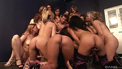Dirty toff gets his mouth filled with pussy juices during an orgy