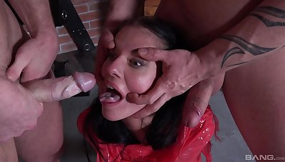 Skinny brunette's alarming dungeon serfdom dealings far two Masters
