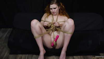 Conscientious tits amateur plays with a vibrator and gets tied up. HD