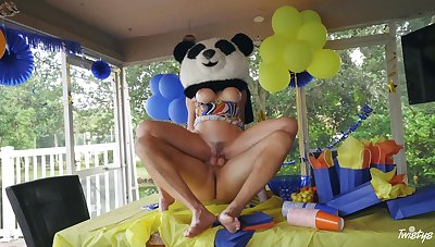 Party MILF gets the huge Panda bear's dick dominant say no to ass