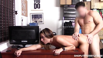Shoplifting milf Jaimie Vine is fucked by brutal security guy