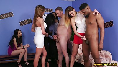 Four amateur dudes get their dicks pleasured by lot of pornstars