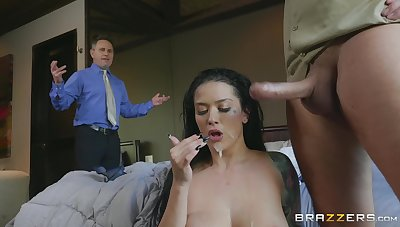 Nude brunette swallows dramatize expunge whole load from dramatize expunge delivery guy