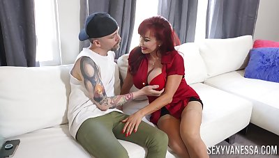 Hot matured goes vigorous mode on young man's energized penis