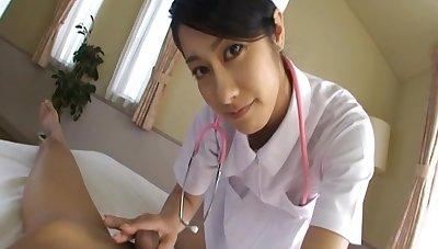 Lucky patient films beautiful Japanese nurse Kyoka giving him head