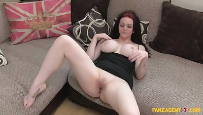 Pale Beauty Gives Spokesperson A Ride On Her Brawny Enhanced Tits